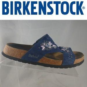 Birkenstock BETULA Blue Suede Sandals Floral 9